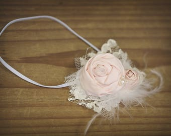 New! Baby Pink and White Baby girl headband soft and  Silk Rosette Hand Rolled Rosette Headband with Lace, Crystals baby headband