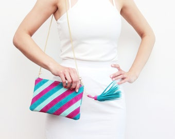 Small shoulder bag. Natural leather purse. Small statement purse. Crossbody bag. Stripe pattern bag. Large tassel. Color block./ CANDY