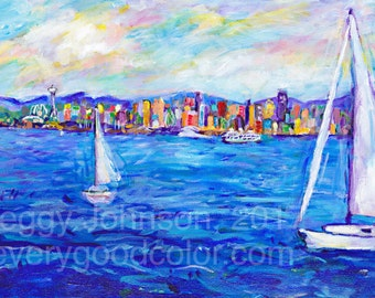 Seattle Mt Rainier sailboats  seascape impressionistic choose your size giclee print