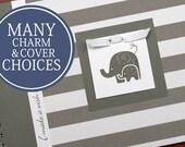 Pregnancy Album | Pregnancy Gift | Pregnancy Book | Pregnancy Planner | Personalized Pregnancy Memory Book | Wide Gray Stripes & Elephants