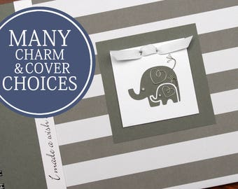Pregnancy Album | Pregnancy Gift | Pregnancy Book | Pregnancy Planner | Personalized Pregnancy Memory Book | Wide Gray Stripes & Elephants