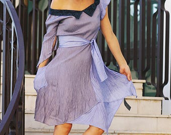 Bright purple Dress summer spring  casual tunic wrinkled/crushed tulip shape boho dress