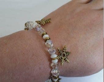 Gold Snowflake Bracelet with Clear Swarovski Crystals