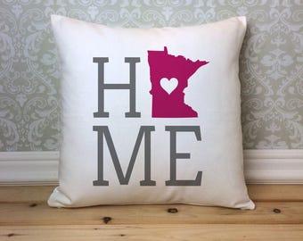Minnesota Pillow, Minnesota State Pillow, Minnesota Home Pillow, Housewarming Gift, Minnesota Home decor, Minnesota Decor, Custom Pillow