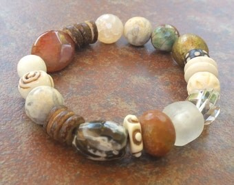 Tribal Chic Multi Gemstone Stretch Bracelet, Boho Chic, Beaded Bracelet, Stretch Bracelet