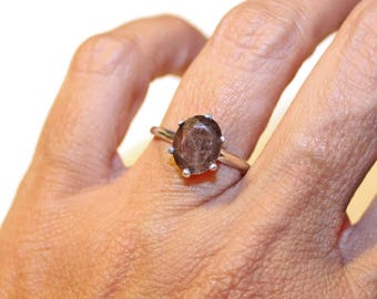 Chocolate Sapphire Ring, Sterling Silver Ring With Brown Stone, Ring With Oval Stone