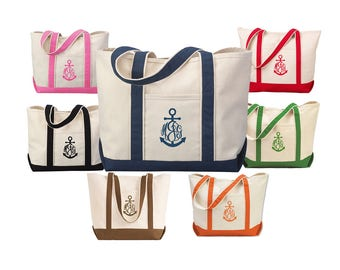 Monogrammed Anchor Tote Bag  -  Canvas Tote Bag with Anchor Monogram - 7 tote bag colors