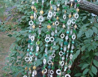 Green and White Glass Beads with Bamboo Suncatcher/Windchime