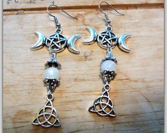 Triple Moon Earrings, Moonstone Pentacle Earrings,