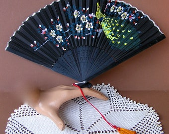 Vintage Japan Peacock  Paper Fan . Hand Painted Fan . Accordian Fan . Folding Paper Fan . Japanese Fan