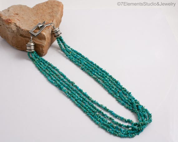 Kingman Turquoise Multi-Strand Necklace, 2-3mm Green Chip Turquoise on Silk 5-Strand Necklace