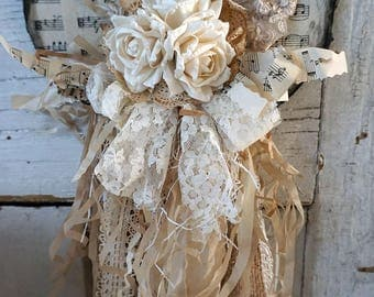 White tattered heart wall hanging shabby cottage chic embellished handmade roses tea stained fabrics and reclaimed decor anita spero design