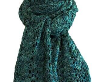 Hand Knit Scarf - Green Blue Feather & Fan Alpaca Wool Bamboo