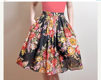 JULY 20 OFF BLACK Floral Skirt, Midi Cotton Skirt With Pockets