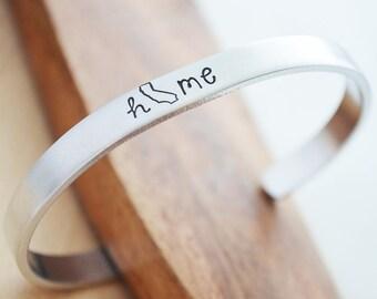 Home State Bracelet - California Home State Jewelry - Cuff Bracelet Personalized State Jewelry - Silver Cuff Bracelet - Cali Girl Cali Love
