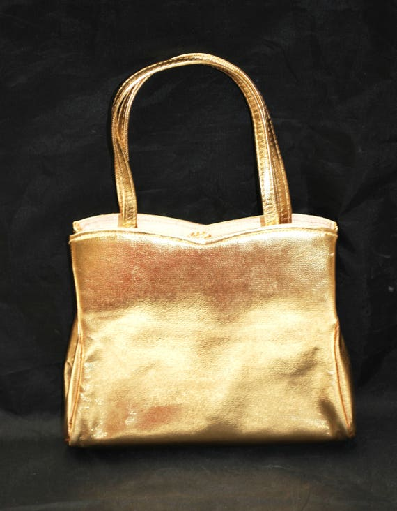 HL  gold evening bag - USA  Harry Lavine Clutch purse  Gold and Rhinestone clasp - vintage purse