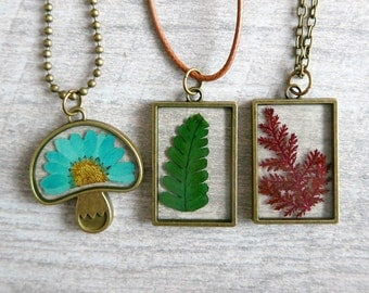 Fern flower Necklace Dry flower Double sided cabochon rose/purple/mint/ yellow