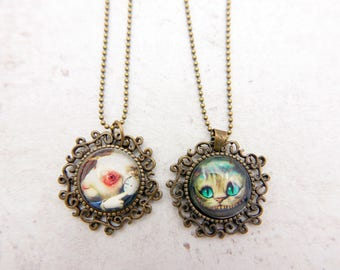 Alice in wonderland Necklace, Rabbit Necklace, Cheshire Cat Necklace,