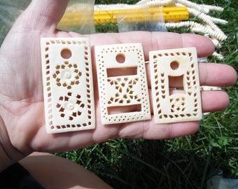 large wholesale lot carved bone beads