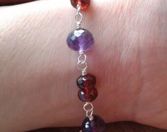 Amethyst and garnet sterling silver bracelet