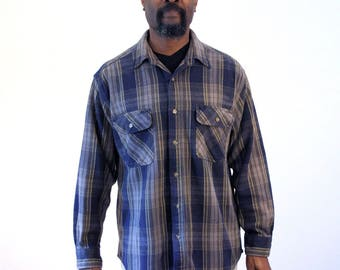 90s Heavy Duty Five Brother Plaid Shirt, Thick Cotton Work Shirt, Gray Plaid Heavy Cotton Shirt, Heavy Gray Plaid Grunge Shirt, Large, L