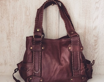 Leather handbag // Boho slouch purse // Soft genuine leather bag // Gifts for her // Brown // Unique // Natural // Cyndi