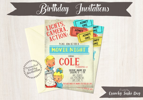 Vintage Movie Party Customizable Birthday Invitations, Movie Theatre Birthday Invitations, Retro Birthday, Printable, Popcorn 076