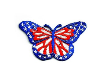 """Butterfly - Patriotic - Red, White & Blue - Embroidered Iron On Applique Patch - 2 1/2""""W"""