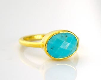 Turquoise Ring - December Birthstone Ring - Stackable Ring - oval ring - Bezel Ring - Gemstone Ring - Gold Ring - mothers Daygift for her