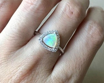 Trillion Opal Engagement Ring- Triangle Opal Promise Ring- Halo Opal Anniversary Ring- October Birthstone Ring- Sterling Silver Ring