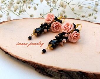 Rose Earrings, Flower Earrings, Vintage Style Earrings, Roses, Pink Earrings, Wedding Earrings, Women Gift, Handmade Earrings, Dusty Pink