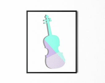 Violin Printable, Wall Art, Home Decor, Musician Musical Instrument Print, Digital Download