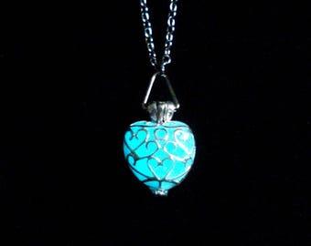 White Heart Glow In The Dark Heart Necklace Pendant Jewelry Silver (glows aqua blue)