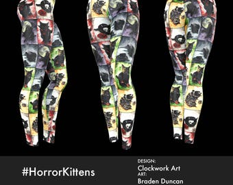 Classic Horror Black Cat Leggings by Bombsheller