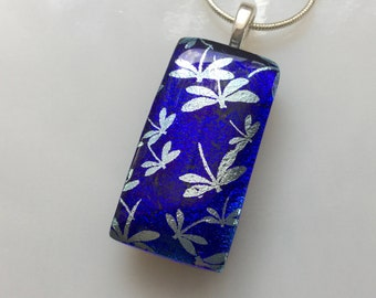 Dichroic Silver Dragonfly Pendant, Fused Glass Jewelry, Cobalt Blue Dragonfly Necklace