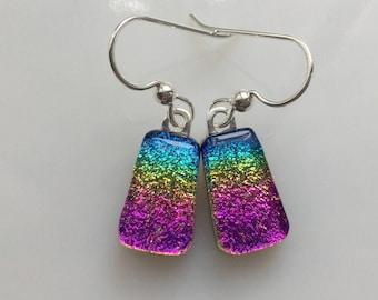 Dichroic Rainbow Earrings, Fused Glass Jewelry, Rainbow Dichroic Glass Earrings