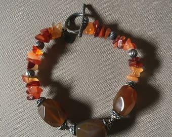 Vintage Semi-Precious Stones Bracelet, Sterling Silver