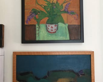 Roland Huston FLOWERS in DOTTED VASE Vintage Abstract Expressionist Cincinnati Artist and Teacher