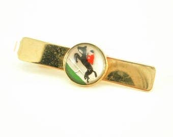 1940s-50s Horse & Rider Tie Bar Gold Tone Metal Mens Vintage Tie Clasp with Reverse Painted Glass Horse Racing or Hunting Scene by PIONEER