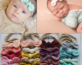 PICK ANY Knot bow nylon headband, one size baby headband, knotted fabric bow, newborn headband, newborn photo prop, nylon headbands