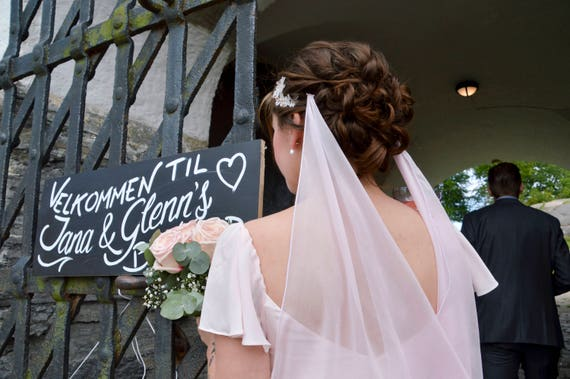 Blush Silk Wedding Veil