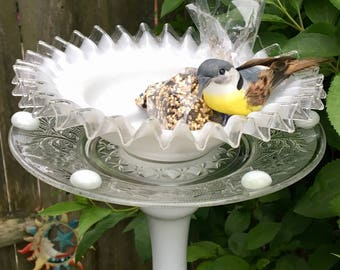 Repurposed Glass Dish Bird Feeder, Recycled Bird Bath, Upcycled Garden Totem, Garden Decoration, Yard Art, Garden Stake, Glass Garden Flower