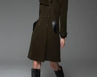 Military coat, army green coat, coat, wool coat, womens coats, mid length jacket, leather trims coat, double breasted coat, warm coat C740