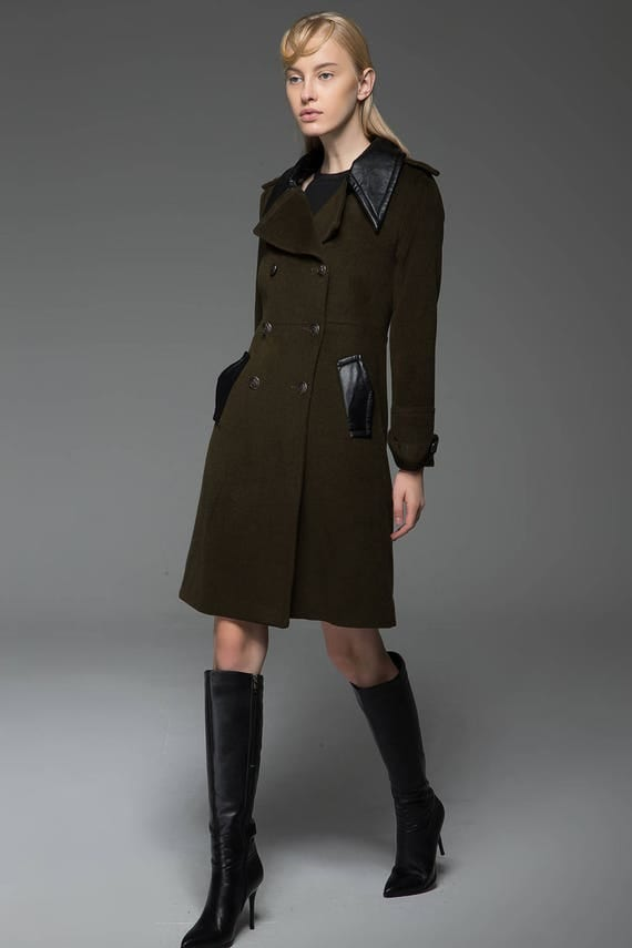 Military coat army green coat coat wool coat womens coats
