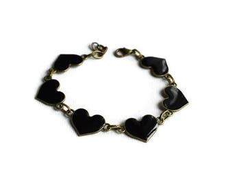 Black Heart Bracelet, Heart Jewelry, Friendship Bracelet, Love Heart Bracelet, Heart Bracelet, Gothic Heart Bracelet, Black Heart Jewelry,