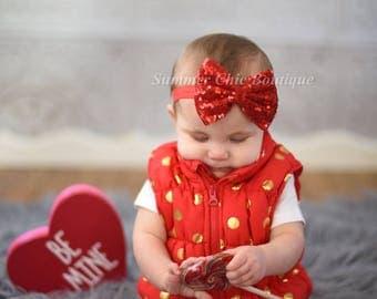 Valentine Headband, Red Baby Headband, Baby Headband, Red Bow, Infant Headband, Newborn Headband, Headband, Red glitter Bow