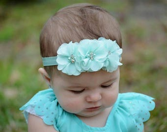 Aqua Headband, Seafoam Baby Headband,  Infant Headband, Newborn Headband - Mint Aqua Baby Headband,  Headband,Chiffon and Pearls Headband