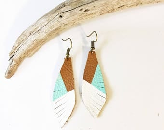 White & Mint on Light Brown Recycled Leather Fringe Earrings