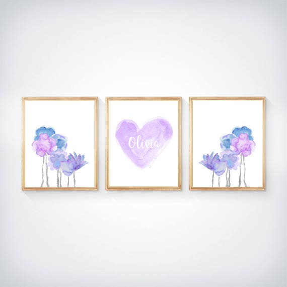 Lavender and Blue Prints for Girls, 8x10-Set of 3