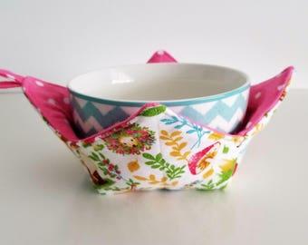 Bowl Cozy, Fox, Rabbit, Hedgehog, Pink Dot Microwave Bowl Cozies